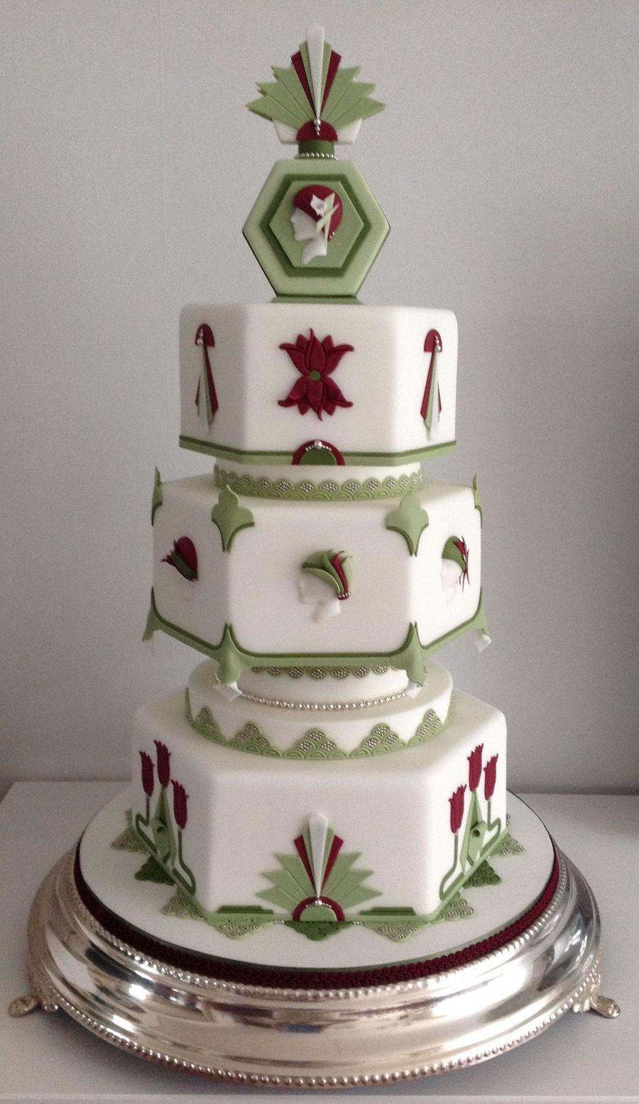 Art Deco Buttercream Wedding Cake : Art Deco Weddingcake - CakeCentral.com