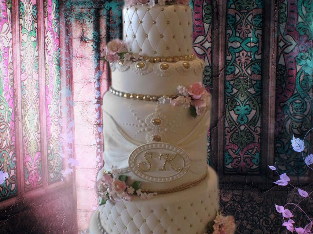 White And Gold Wedding Cake With Pink Roses Cakecentral Com