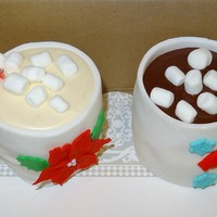 "Christmas Cake Individual ""hot cocoa"" cake cups. All edible wrapped in white fondant..."