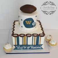 "Football Cake Cake for our a football team's end of year celebration. 10"" square, 6"" round plus 60 cupcakes."