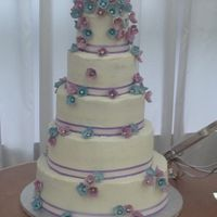 First And Probably Last Wedding Cake vanilla cake with buttercream...made over a hundred hand painted hydrangea
