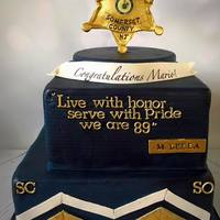 Police Academy Graduation  I made this cake for a special guy graduating the police academy and becoming a sheriff! The navy blue color definitely was challenging to...