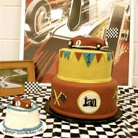 Vintage Race Car Cake   Vintage Race Car Cake for a first birthday - complete with a matching race car for the smash cake!