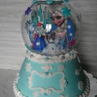 Frozen Snow Globe Strawberry cake with buttercream.