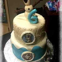 Frozen! Frozen birthday cake with 3D Olaf and hand painted Anna and Elsa.