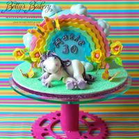 """unicorn"" Unicorn Cake with tiny sugarflowers, butterflies, rainbow and clouds in sugar, design inspired by my friend´s business card...."