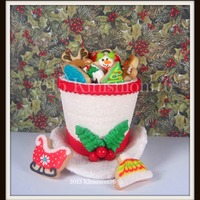 3-D Cookie Top Hat.   Cookie top hat filled with decorated Christmas minis. No fail sugar cookies with royal icing.