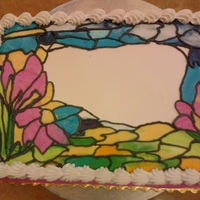 My Attempt At Stained Glass Using Buttercream I painted this stained-glass cake using buttercream. I piped on different colors of buttercream and smoothed the sections out with a small...