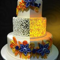 Illuminated Cake Handcrafted lighted tier using the quilling method =)