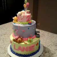 Kittens Birthday Cake Buttercream 3 tier cake with fondant kittens
