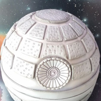 Death Star Death Star cake with airbrushed galaxy backdrop and board