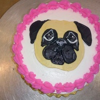 2 Little Pug Cakes These cakes were for a cute little 7 year old girl. She loves her little stuffed animal that is a pug. The bigger cake is a 1/4 Sheet and...