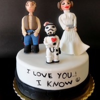"Star Wars Wedding Anniversary Cake I made this cake for our wedding anniversary..It is inspired by the movie The Empire strikes back and the famous quote ""I love you...i..."