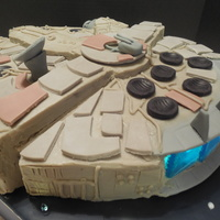 Millennium Falcon Cake White ganache with modeling chocolate details