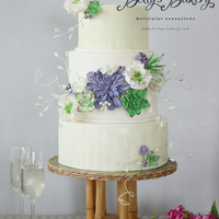 """succulent"" Romantic & rustic wedding cake with sugar succulents & peonies and textured tiers. Cakestand with art nouveau inspiration from the..."
