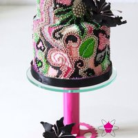 """pearls"" Cake with sugarpearls in pink, black, green, orange and silver and black sugarflowers. Inspired by Happy Hills Cakes UK Cakestand &..."