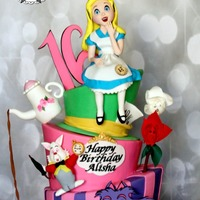 Alice In Wonderland Cake This was my first topsy turvy cake. The party decorations were black and hot pink so I tried to incorporate as much pink as possible. The...