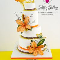 """exotic"" Weddingcake in white with butterfly flowers, butterflies and birds. ""Art Nouveau"" cakestand from the ""Bamboo&rdquo..."