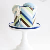Multi-Diagonal Stripes Upsherin An Upsherin cake for a sweet boy complete with a kippah and tzitzit.