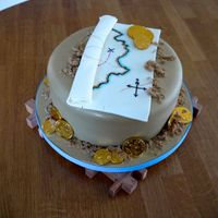 Treasure Map  This is a plain sponge filled with vanilla buttercream with a treasure map/pirate theme. The cake is also a piñata cake which...