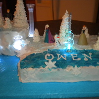 """ Frozen"" For my three year old great grandson, Owen.......... He LOVES the Frozen story... butter cream icing, fondant decorations.... Trees are..."