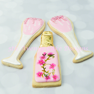 Royal Icing Champagne Bottle With Gold Leaf And Champagne Glass Cookies
