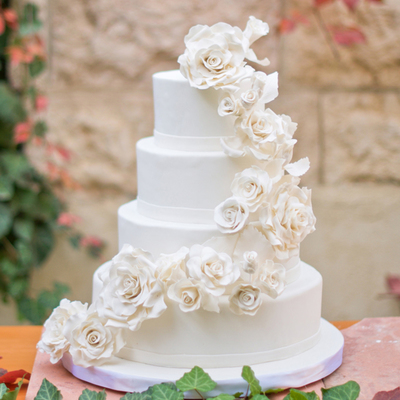 White Roses Wedding Cake