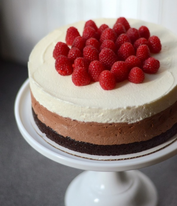 Triple Chocolate Mousse Cakes With Raspberries