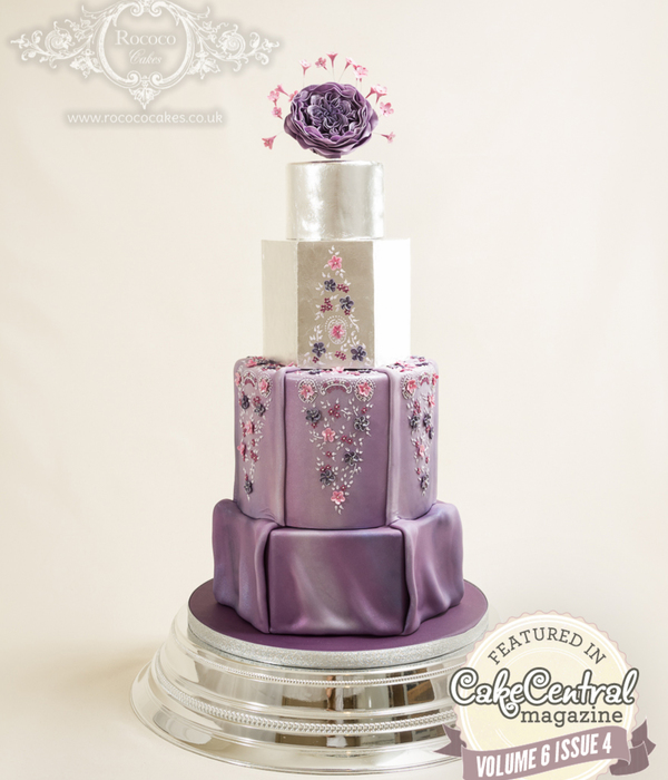 Purple And Silver Dress-Inspired Cake
