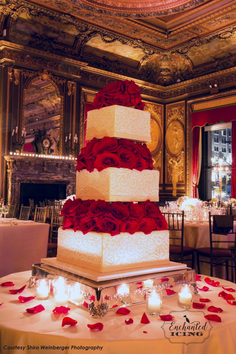 Brocade And Roses Wedding Cake - Enchanted Icing on Cake Central
