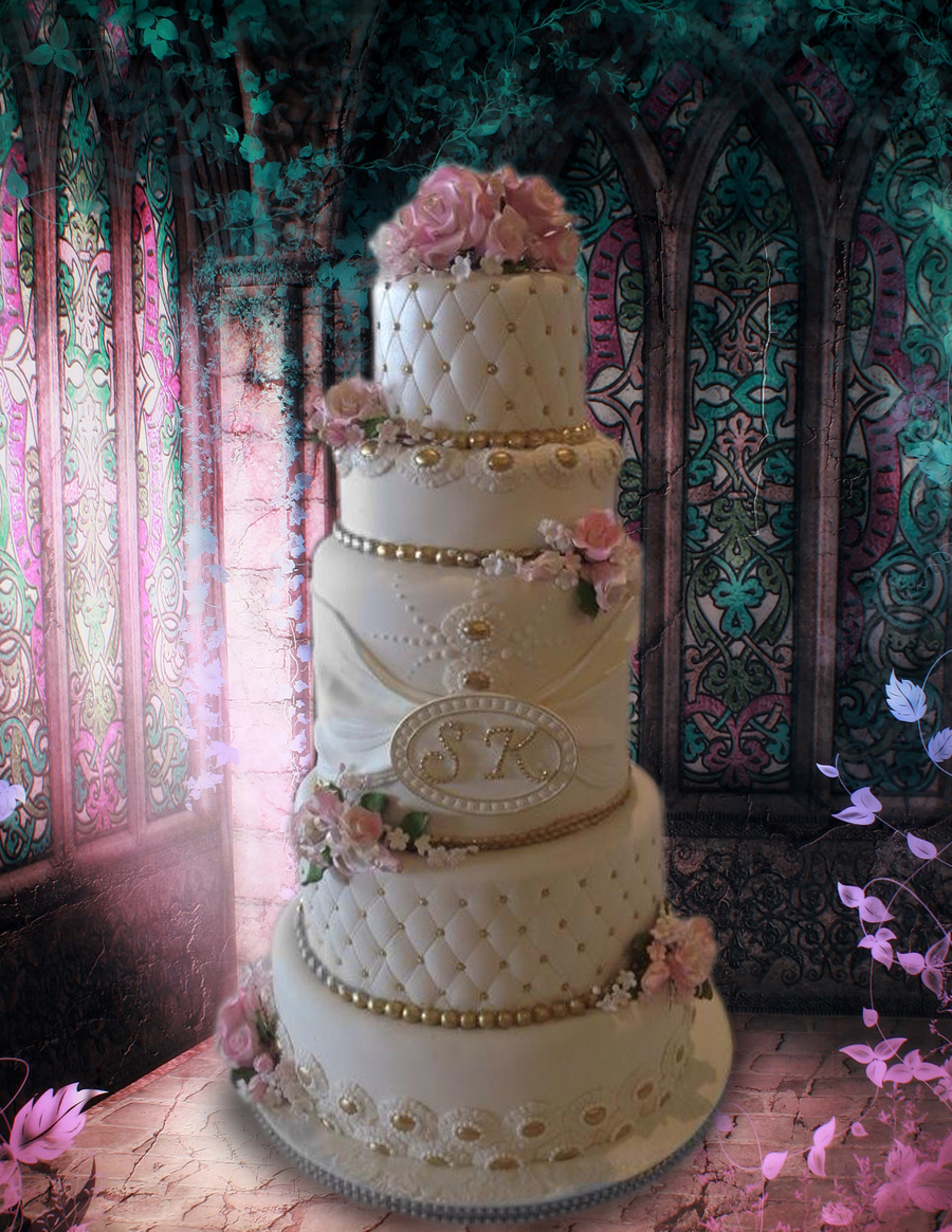 white and gold wedding cake with pink roses cakecentralcom