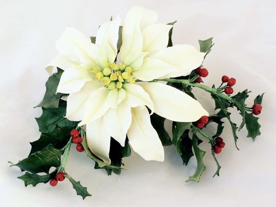 Poinsettia and holly christmas arrangement for Poinsettia arrangements