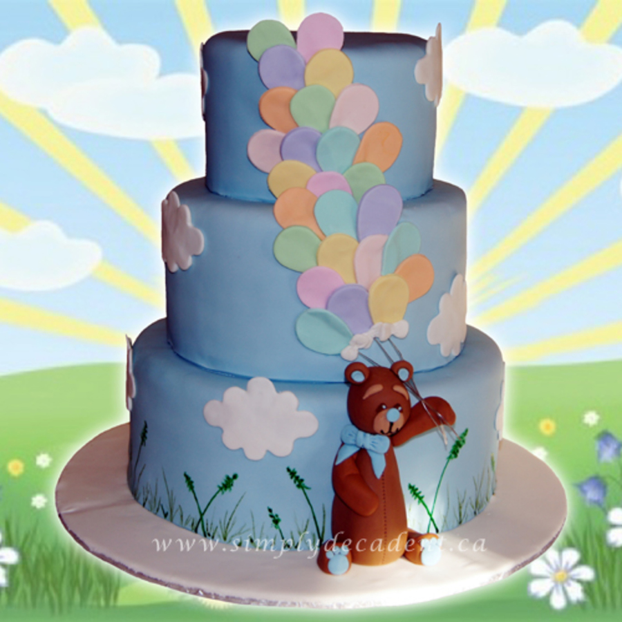 3 Tier Fondant Birthday Cake With 3d Hand Sculptured Teddy Bear