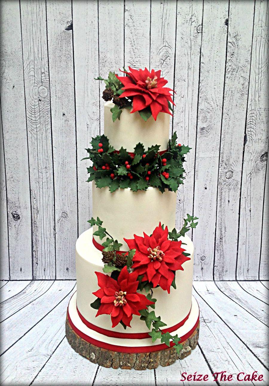 Poinsettia Christmas Cake - CakeCentral.com
