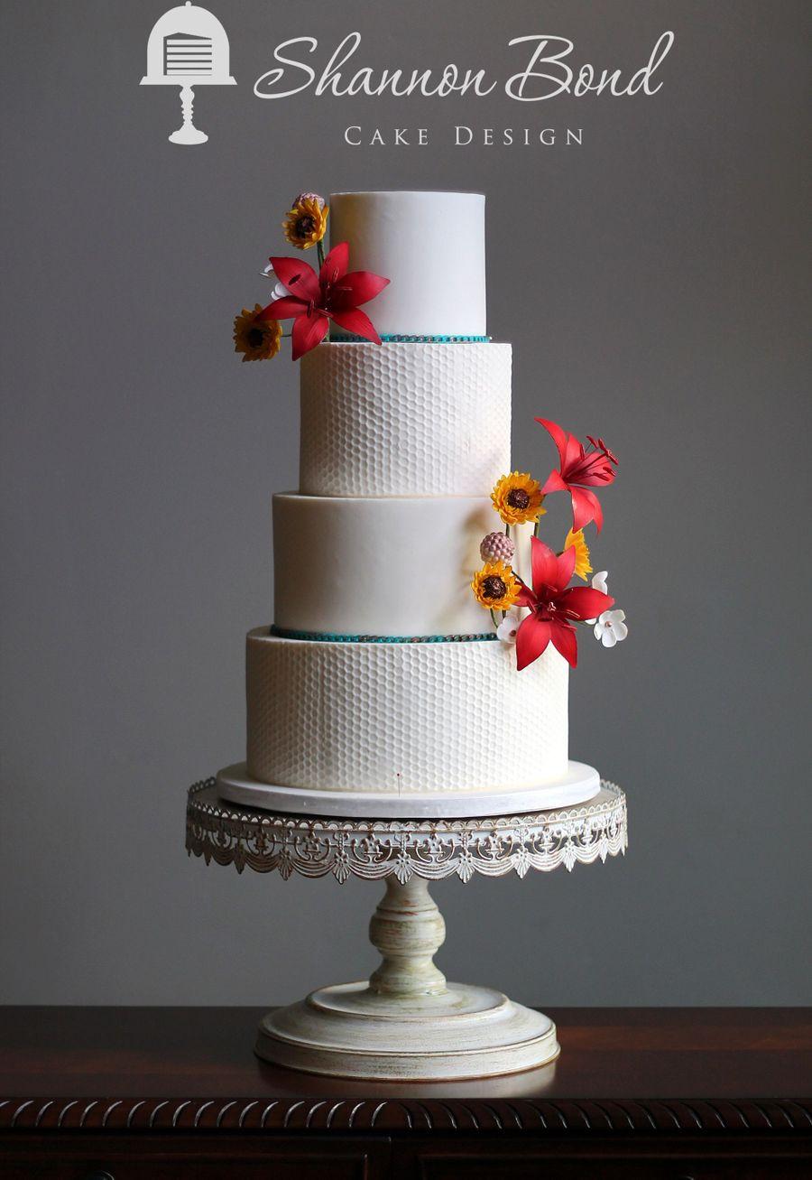 Honeycomb Textured Wedding Cake Cakecentral Com