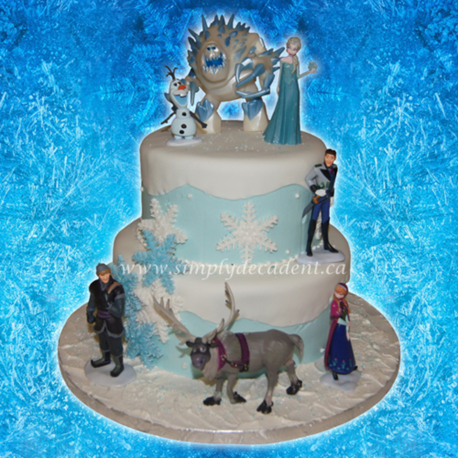 2 Tier Disney Frozen Birthday Cake With Elsa Olaf Marshmallow