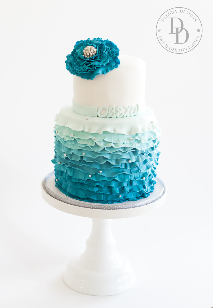 Blue Ombre Ruffled Bat Mitzvah on Cake Central