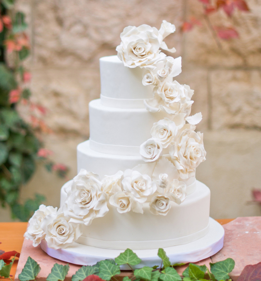 White Roses Wedding Cake - CakeCentral.com