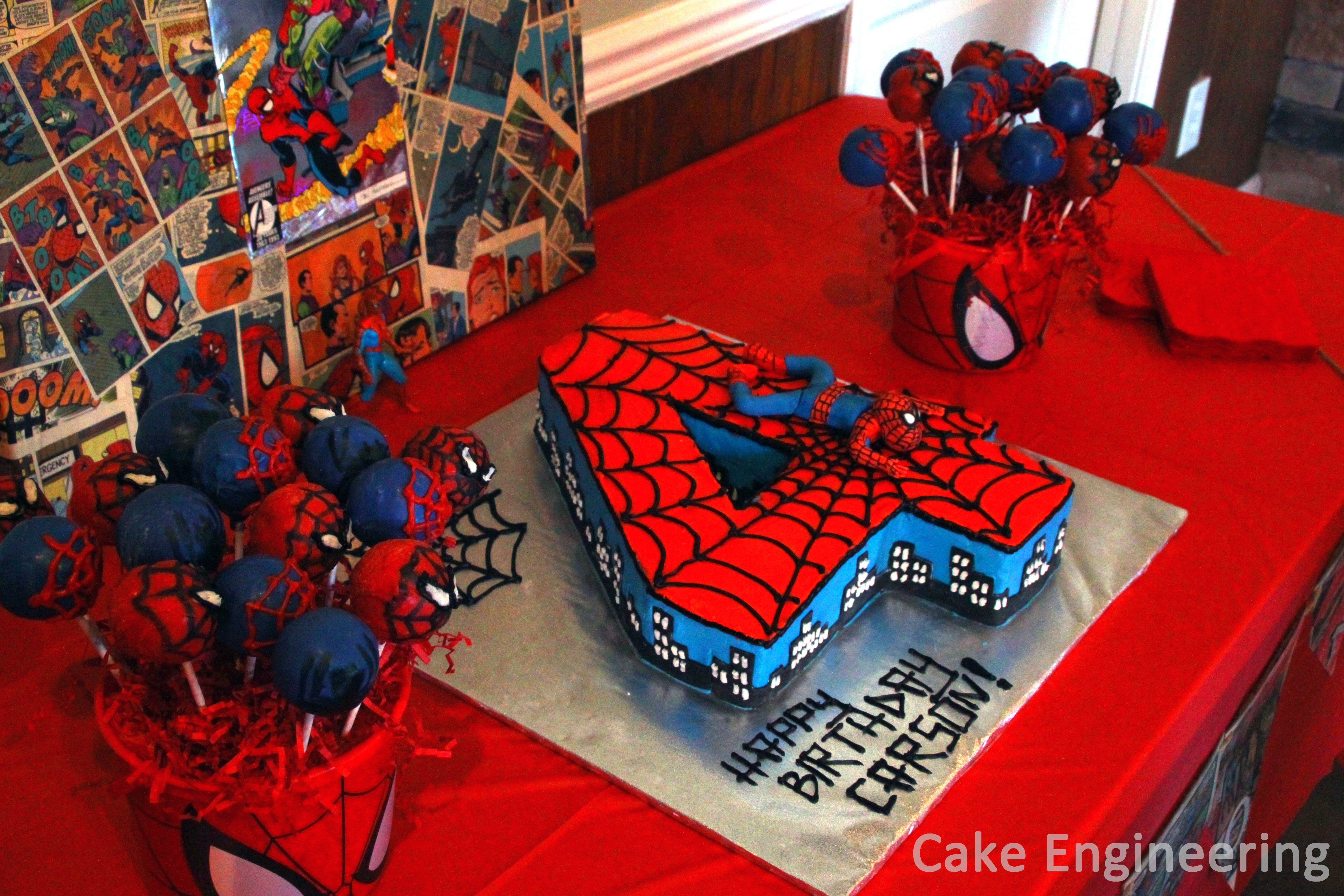 Spiderman number cake for Spiderman decorations