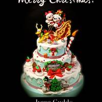 Mickey Mouse And Minnie Christmas Cake Mickey Mouse and Minnie for christmas ! I love this subject :) https://www.facebook.com/Torte-di-Ivana-Guddo-317176505051760/