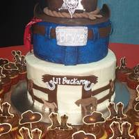 Western Themed Baby Shower Cake For my grandson Bryce due in Feb..