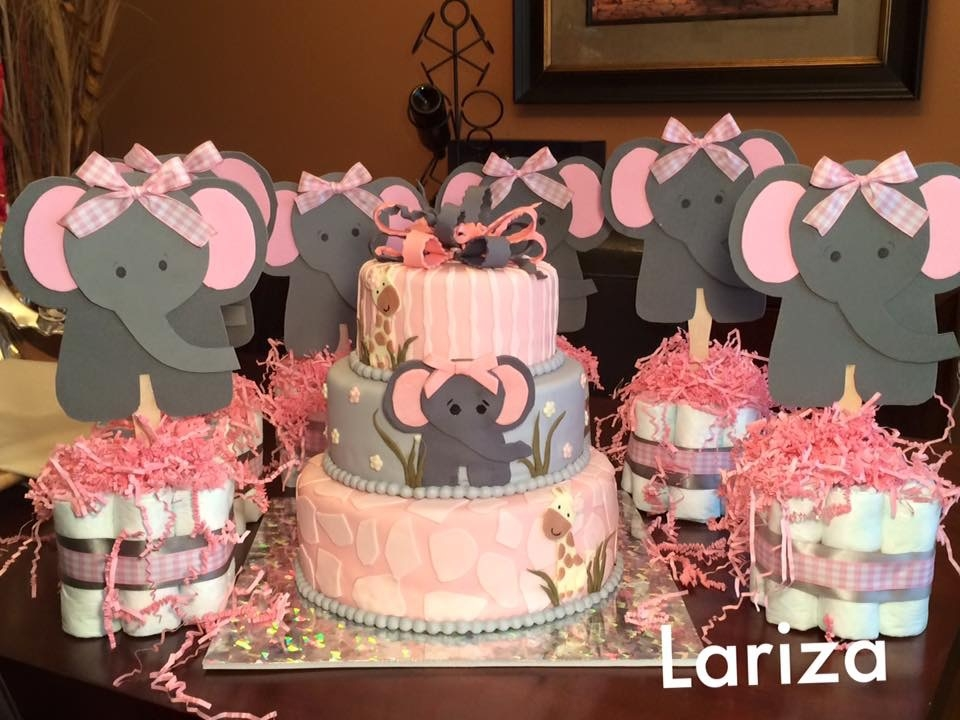 Elephant Baby Shower Cake Almond cake cover with pink and grey fondant