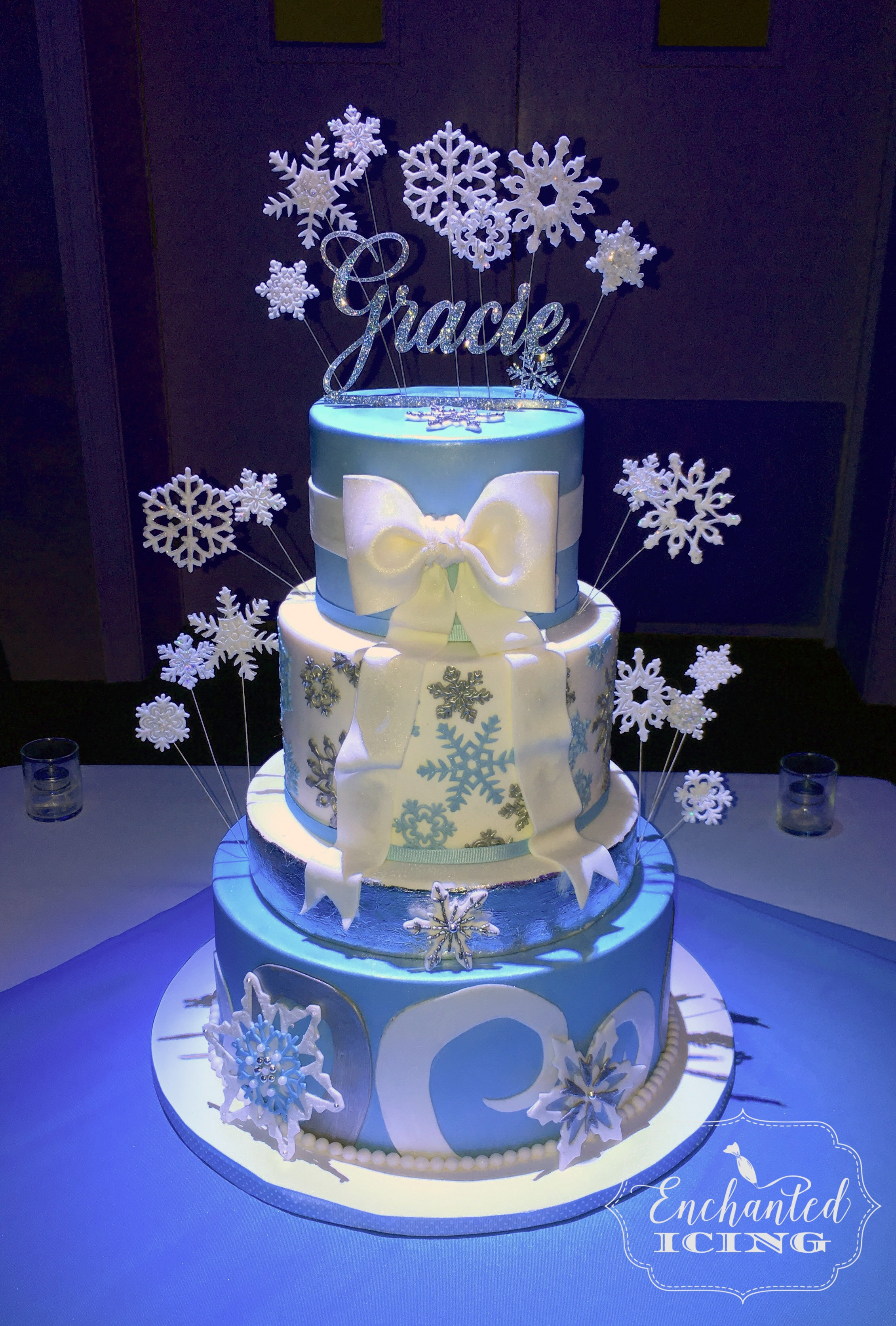"Snowflake Cake For Gracie (Enchanted Icing) A special cake for a special young lady. Definitely not a ""Frozen"" cake!"