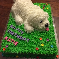 Puppy Birthday Cake Puppy is made up of marshmallows and rice crispies that I shaped. Then used buttercream with a thin writing tip for its fur. The eyes, nose...