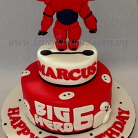 Big Hero 6 : Baymax Big hero 6 themed cake with a handmade figurine of Baymax in his red armour.