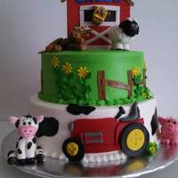 Barn And Farm Cake , Fondant Tractor And Animals   buttercream cake with fondant decorations