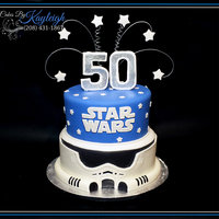 "Star Wars Birthday Cake I was sent a photo of this cake by a client and asked to recreate it. I love Love Love simple cakes. so crisp looking. This is a 9""/10..."