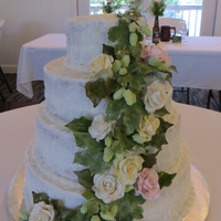 Wedding Cake all hand made flowers and hops vine