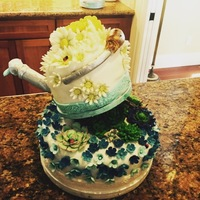 Flowers And Suculentas Cake.   Cake for my mother in law.