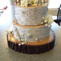 Birch Tree Wedding Cake   Birch bark wedding cake. Maple walnut cake with maple buttercream, covered in fondant.